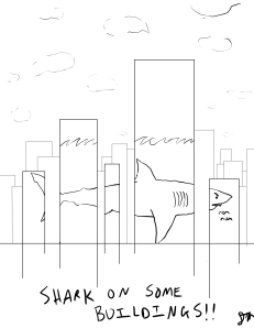Duncan's Shark and some buildings